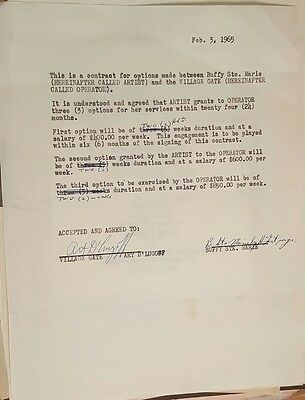 buffy sainte marie live concert contract 1965 village gate new york city
