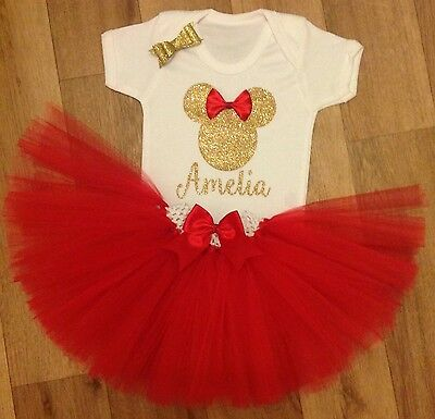 minnie mouse girls first 1st 2nd  birthday tutu outfit cake smash handmade
