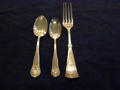 Antique Sterling Silver Spoons & Fork H. O. Hurlburt & Sons 1850-1899