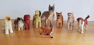 Lot 9 Dogs and Fox Funrise 1988 Schleich Animals Figure PVC Variety