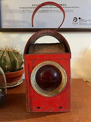 Vintage Industrial Red Paraffin Road Light Railway Lantern Lamp & Burner