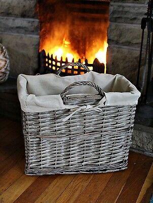 Large Wicker Rustic Willow Bow Magazine Holder Rack Wood Log Basket with Handle