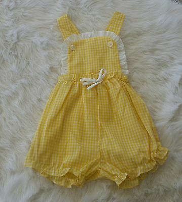 Vintage baby girl yellow gingham romper