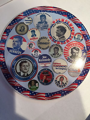 LG 4 in - John Kennedy Robert Kennedy Ted Kennedy Campaign Memory Button Pinback