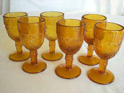 Lot of 6 AMBER TIARA GLASS Footed Wine/Juice Goblets - MINT