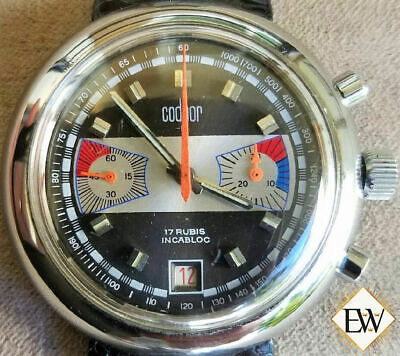 Vintage Codhor 60's Valjoux 7734 Chronograph Watch Date Great Condition Racing