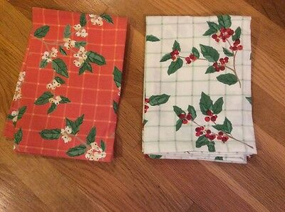 2- Holly Winter Theme Cotton Towels Crate&Barrel NEW