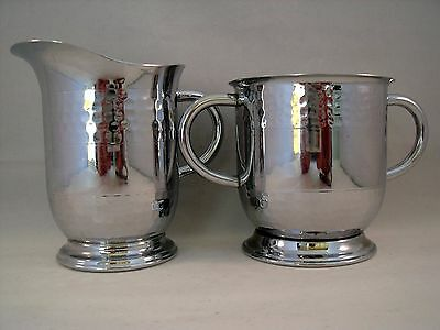 Vintage Cream & Sugar Set  in Stainless Steel & Chrome Hammered