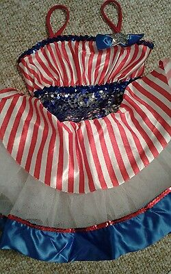 Curtain Call dance costume red white and blue cme child medium