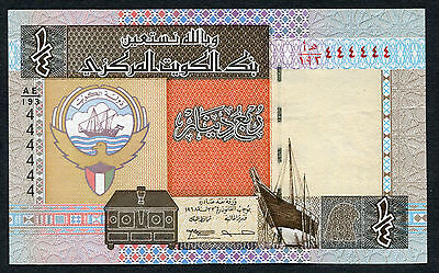 KUWAIT 1/4 DINAR 1984 SOLID SERIAL # 444444 XF P-23f
