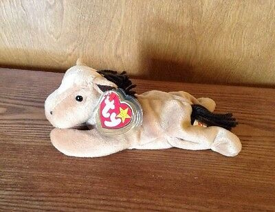 Ty Beanie Baby DERBY the Horse! Coarse Mane with Stamp# 406 Inside Tush Tag.