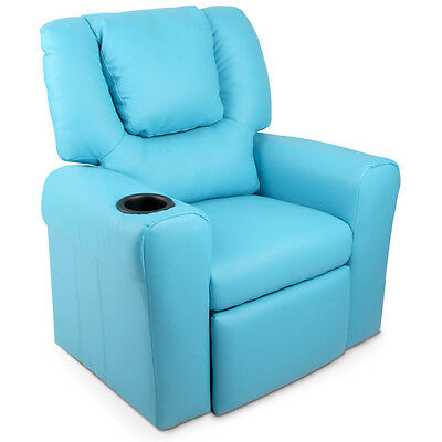 Kids Padded PU Leather Recliner Chair  – Blue