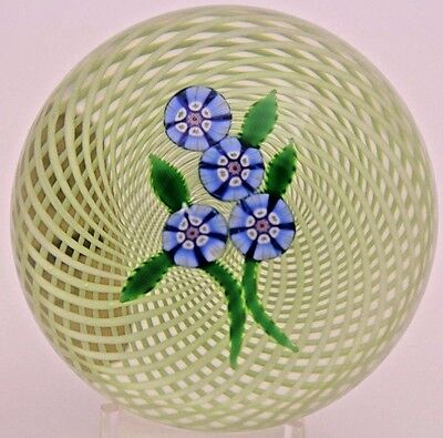 Beautiful PERTHSHIRE Millefiori FORGET ME NOT Flowers ART Glass PAPERWEIGHT