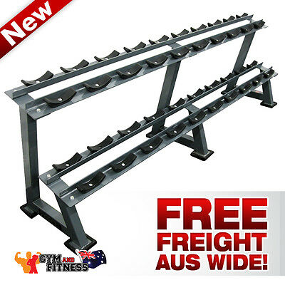 New 10 Pair Dumbbell Rack Stand Storage 2 Tier Fitness Home Gym Weight Fitness