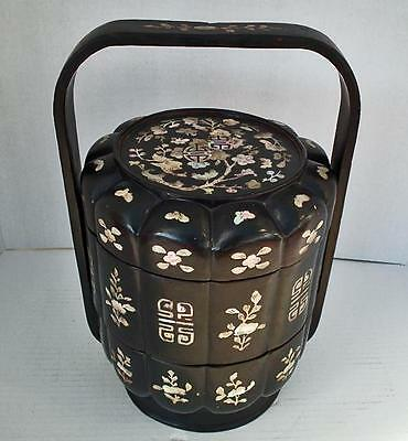 Antique Chinese Lacquer & Mother Of Pearl Qing Dynasty Wedding Basket Lunch Box