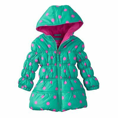 NEW Girls 12M Baby Child GREEN POLKA DOTS Hooded Puffer Jacket Coat