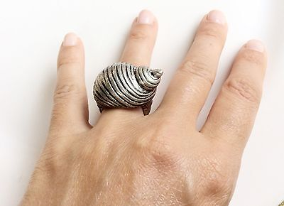 Seashell Ring Adjustable Stretchy Silver Tone Statement Seashell Ring