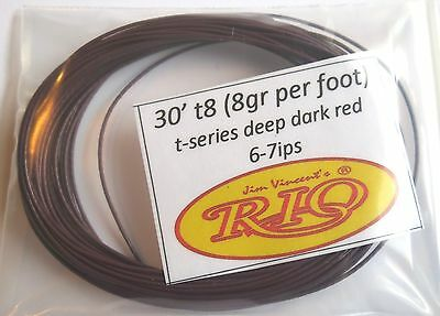 30' t8 Rio T-Series Bulk Sink Tip (without loops) deep dark red