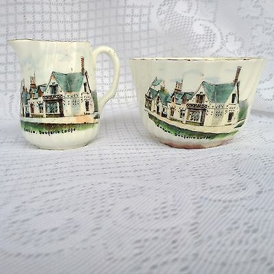 BOW CHINA Creamer/Sugar- Stoke on Trent England, Dougarie Lodge Arran (386)