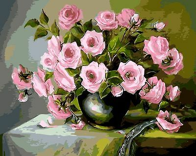 DIY Oil Painting By Numbers Kit 50*40cm 8162 Floral Tea Time Paint Art