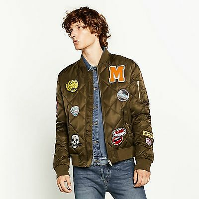 8ad248a956a6 ZARA MAN AUTHENTIC Quilted Bomber Jacket With Patches Size L ...