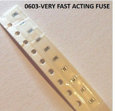 10x 0,5A 0.5A 32Vdc  Keramiksicherung SEHR FLINK SMD 0603 Very Fast acting Fuse