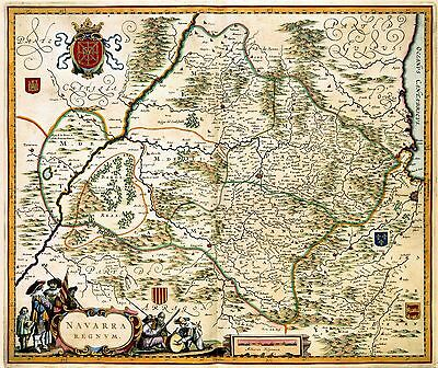 1628 antique MAP atlas poster  Navarra Northern Spain Blaeu nice Carotuche 376