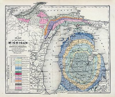 1873 Winchell MAP atlas  poster Michigan geological formations 3