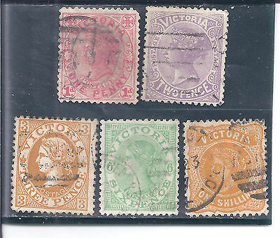 VICTORIA...#219-20, 222a, 225 & 228 (INVERTED WMKS)..1905/10...Used...SCV $10.60