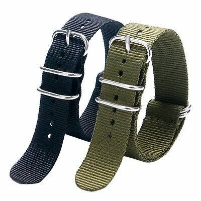 20mm 22mm Nylon Fabric Canvas Watch Band Mens Women Wrist Strap + 2 Spring Bars