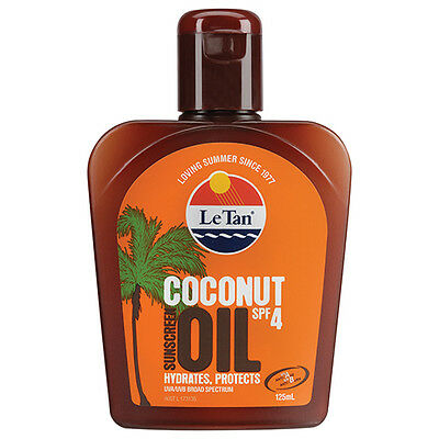 NEW Le Tan Sunscreen Coconut Oil Spf 4+ Keeps Skin Hydrated 125ml