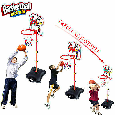 Kids Free Standing Sports Backboard Basketball Hoop Adjustable Stand W/Ball Toy
