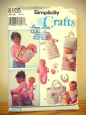 Simplicity Craft Sewing pattern Uncut-Accessories for Baby Doll  3 Sizes  #8105