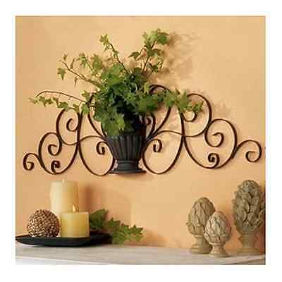 Dark Brown Exotic Metal wall Art Sculpture Scroll Vase Home Garden Wall Decor