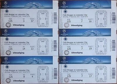 2016 CLUB BRUGGE v LEICESTER CITY FIRST EVER CHAMPIONS LEAGUE UNUSED TICKET