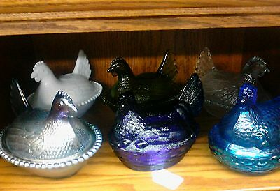 Choice Of 5 Different Colored Glass Hens On Nests Covered Dishes