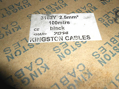 100 metres of 2.5 2 core cable black new