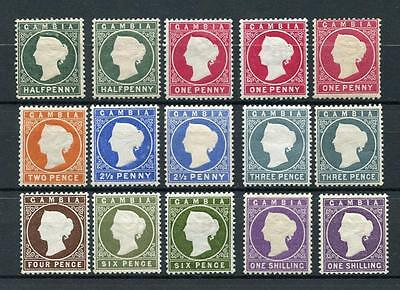 Gambia 1886-93 set + listed shades SG21/36+ MLH cat £176