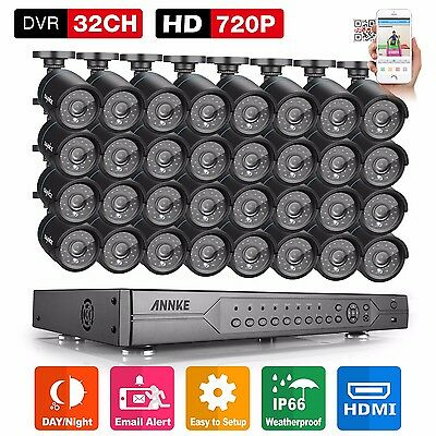 32CH AHD 1080N DVR 720P Video 32x Outdoor Home CCTV Security Camera System H.264