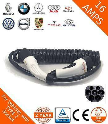 EV Charging Lead Cable Type 2 (62196-2) 16amp with 5m Spiral Cable