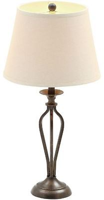 Rustic 28 Bronze Metal Table Lamp White Drum Shade Accent Lighting