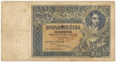 Poland 20 Zlotych Banknote 1931 Serial Cd 6654411 / Look Scans