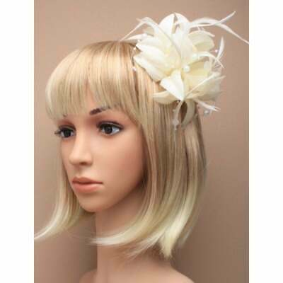 Cream fascinator with petals, pearls, and tendrils (beak clip and pin)