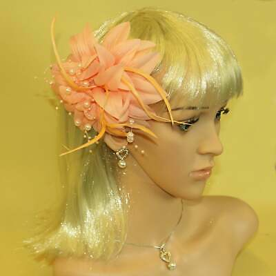 Peach fascinator with petals, pearls, and tendrils (beak clip and pin)