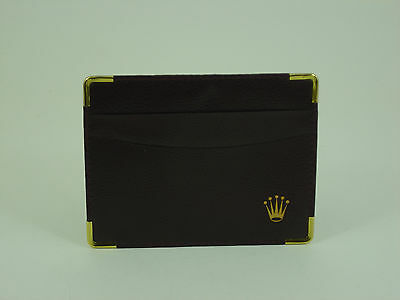 Genuine Rolex vintage brown leather card holder