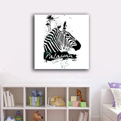Abstract Zebra Stretched Canvas Print Framed Office Wall Art Home Decor Painting