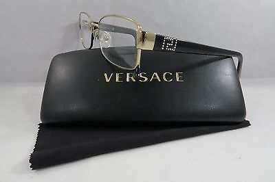 Versace MOD 1177-B-M 1252 Black/Gold/Crystals New Authentic Eyeglasses 54mm Case