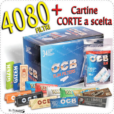 4080 Filtri OCB SLIM 6mm + CARTINE CORTE ENJOY RIZLA OCB BRAVO SMOKING GIZEH