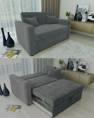 Ravena 2 Seat Pull Out Sofa Bed Living Room Lounge in Charcoal Chenille Fabric
