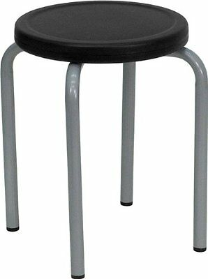 Flash Furniture YK01B-GG Stackable Stool with Black Seat and Silver Powder Frame